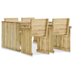 vidaXL 5 Piece Outdoor Dining Set Impregnated Pinewood