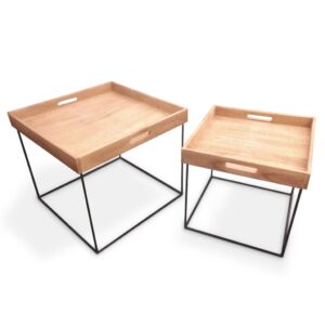 Home&Styling Tray Table Set 2 pcs Teak and Metal