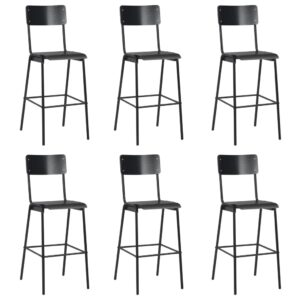 vidaXL Bar Chairs 6 pcs Black Solid Plywood Steel