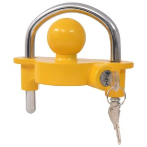 vidaXL Trailer Lock with 2 Keys Steel and Aluminium Alloy Yellow