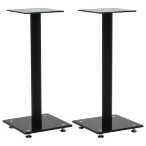 vidaXL Speaker Stands 2 pcs Tempered Glass 1 Pillar Design Black