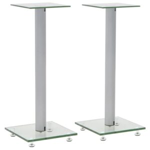 vidaXL Speaker Stands 2 pcs Tempered Glass 1 Pillar Design Silver