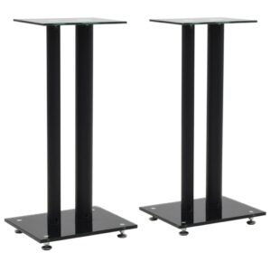 vidaXL Speaker Stands 2 pcs Tempered Glass 2 Pillars Design Black