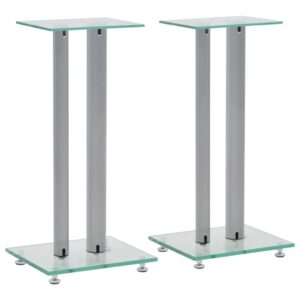 vidaXL Speaker Stands 2 pcs Tempered Glass 2 Pillars Design Silver