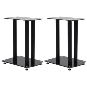 vidaXL Aluminum Speaker Stands 2 pcs Black Safety Glass