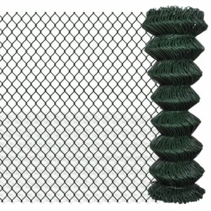 vidaXL Chain Link Fence Galvanised Steel 1.25×15 m Green