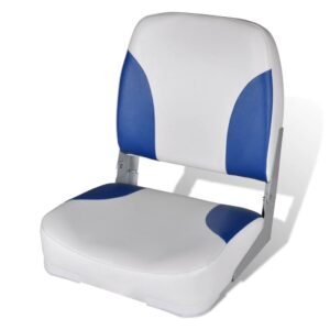 vidaXL Boat Seat Foldable Backrest With Blue-white Pillow 41x36x48cm