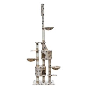 Cat Play Tree Cuddles XL 230 – 260 cm Beige with Paw Prints
