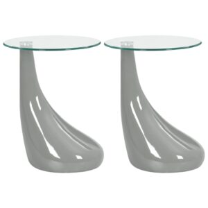 vidaXL Coffee Tables 2 pcs with Round Glass Top High Gloss Grey